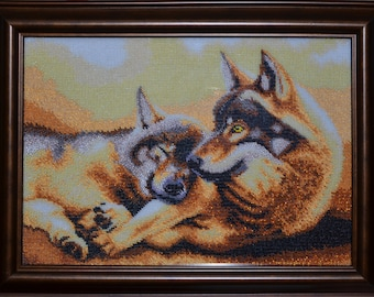 "Bead Embroidery Picture ""Wolves"""