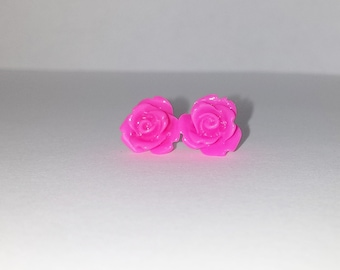 Hot Pink Rose Earrings
