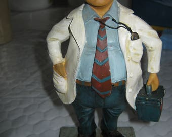 "Whimsical 8 1/4"" Doctor Figurine Mustache, Bald, White Coat #94391 Made in China"