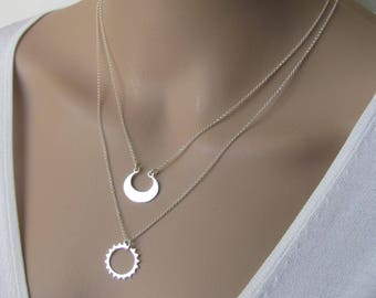 Sun and Moon Strand Necklace, Double Layered Necklace set, Sterling Silver Sun and Moon Necklace, Pendant Necklace, Jewelry, Gift
