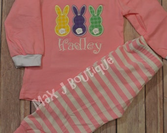 Monogrammed Applique Pink Stripe Spring and Easter Pajamas