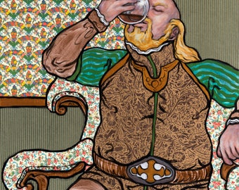 "Giclee print - portly Renaissance man in armchair drinking brandy - 11"" x 14"""