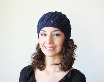 Navy blue crochet beanie, Winter hat women, Navy blue hat, Winter crochet hat, Blue beanie cap, Navy blue beanie, Womens gift for her
