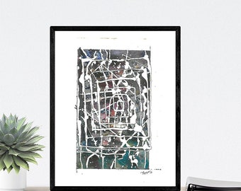 Abstract World Spiral - Watercolour on Paper print In High quality Print Card Paper