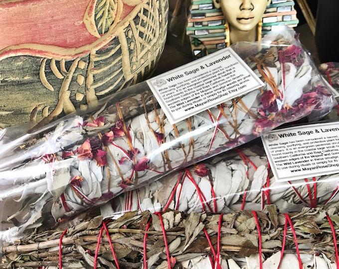 Featured listing image: JUMBO WHITE Sage & LAVENDER Smudge Stick | Large Sage Bundle | Meditation, Altar, Home Cleansing, Positive Energy, Cleanse, Wicca Smudge Kit