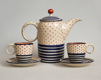 "Teapot set ""Dots or stripes?"""