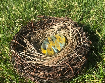 Handmade Glass Easter Egg #8 - Yellow & Aqua