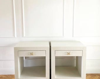 "CEH Label ""Celine""  Grasscloth Nightstand or Table"