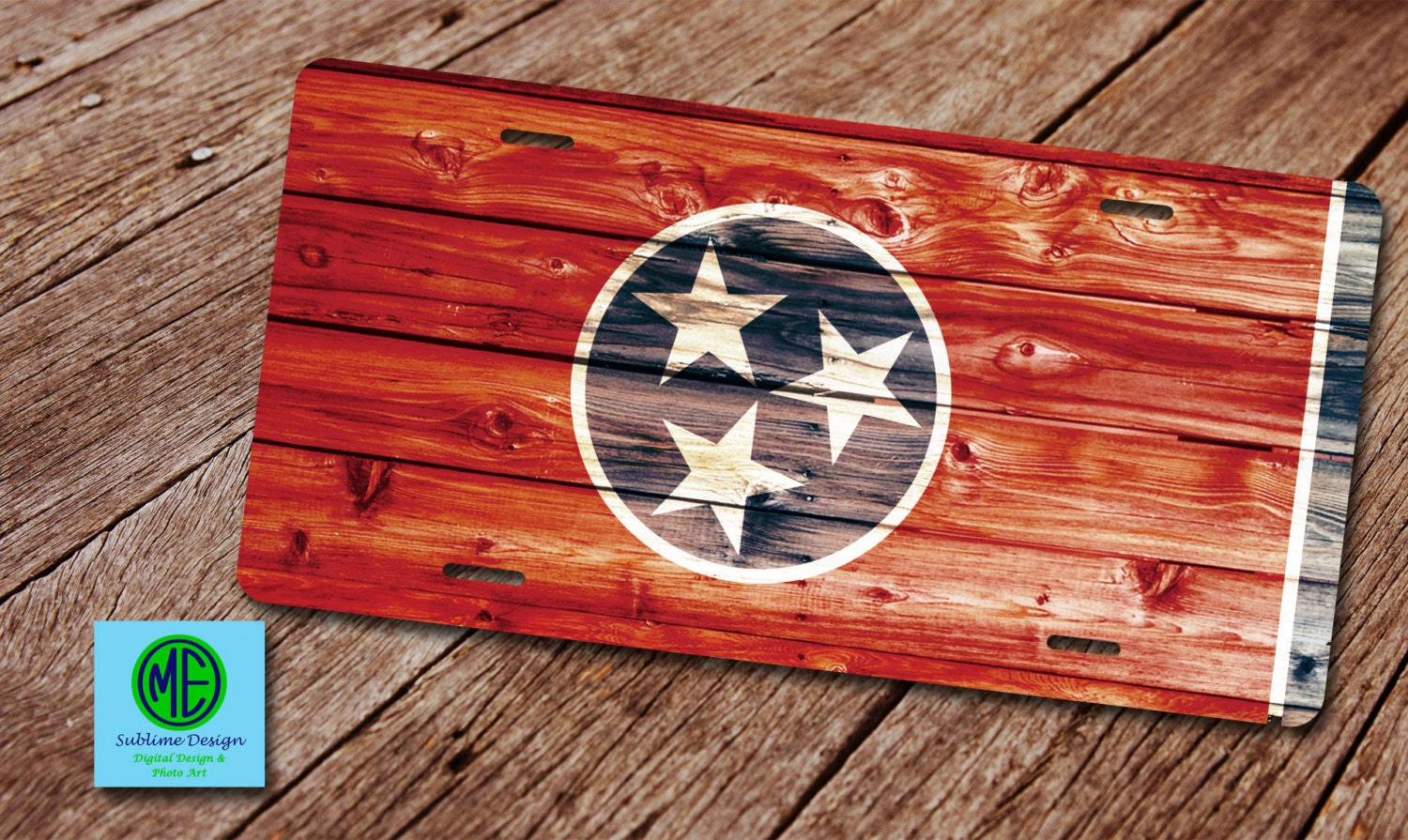 TN License Plate. TN Plate Frame. Tennessee Rustic Tri Star