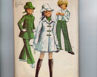 1960s Vintage Girls Sewing Pattern Simplicity 8478 Girls Mini-Coat, Bell-Bottom, Pants and Hat Size 12 Breast Bust 30 1969 60s