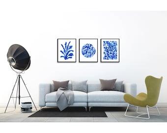 Blue Print Art Giclee Print Set of 3 . Ink leaf art . Modern Home Nature Decor Living Room Wall Art .