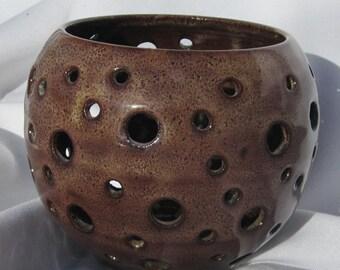 Brown Luminary - Handmade pottery