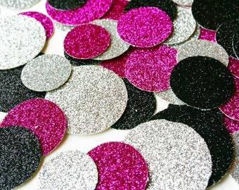 Silver Confetti Fuchsia Circle Glitter Confetti Silver Confetti Table Confetti Dark Pink Confetti Black Confetti