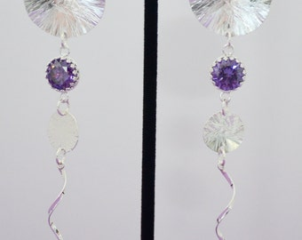 Argentium Silver Disc Dandle Earrings with Purple Zircons(10mm) & (8mm)
