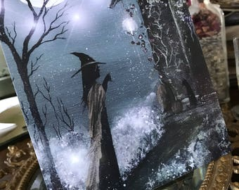 5x7 One Art Print from my Original Painting Cat Victorian Witchcraft Full Moon Witch Halloween Gothic Folk Terri Foss Muted Colors