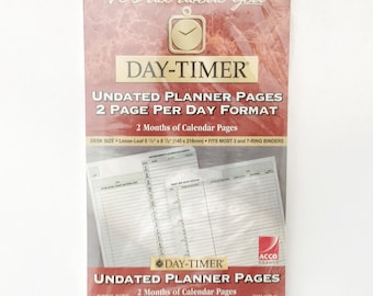 "Day-timer Refill Inserts, Undated Planner Pages, 2 Page Per Day Format, 2 months of Calendar Pages, Daytimer Desk Size  5.5"" x 8.5"" #87242"