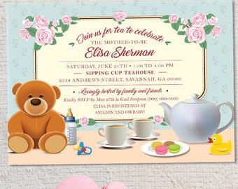 Tea Party Baby Shower Invitation, Printable, Evite or Printed (US Only) Invitations