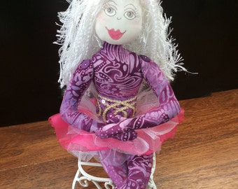Seated cloth doll,OOAK,funky unique doll,Handmade gift,textile doll,Lavender & hotpink fairy
