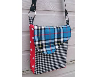 Punkadot Tartan & Polka dot handmade messenger shoulder bag