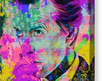 David Bowie Summer Splash Chameleon OilPainting/XXLPainting/Quadrat/Ziggystardust/Portrait/PopArt/StreetArt/DavidBowiePrint/CanvasXXL