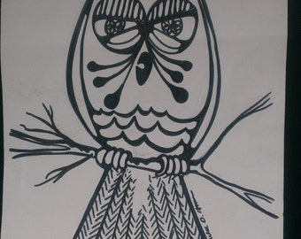 Big Eyed Owl Print by Ronald D. Isom