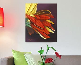 Gerbera Daisy Painting - Yellow & Red Flower 3D Textured Wall Art on Canvas