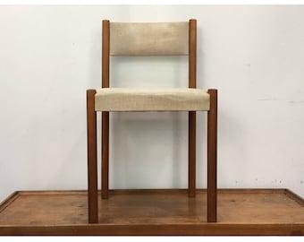 Danish Modern Chair - Vintage Teak Mid Century Desk Chair - Cream Linen Teak Armless Chair - Made in Denmark - Minimalist Sleek Acccent