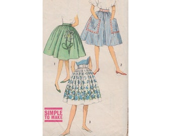 1950s Womens and Teens Easy Bouffant Skirt with High Waist and Large Patch Pockets Simplicity 3834 Waist 24