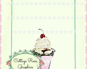 Printable image ADD your own text Ice Cream Sundae invitations pink and lavender roses with frame Digital download  BUY 3 get one FREE