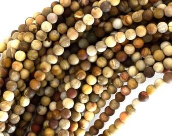 """4mm matte petrified wood agate round beads 15"""" strand 39124"""