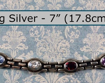 """Classy 7"""" Long Sterling Silver Bracelet with 8 Jeweled Links"""