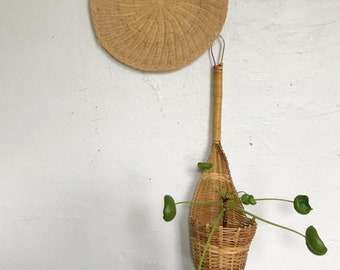 Woven wicker wall pocket planter, indoor plant basket