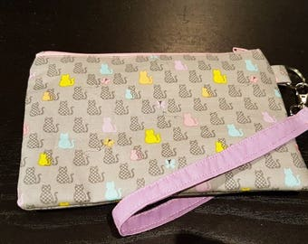 Rainbow Pastel Cats On Grey Wristlet Bag