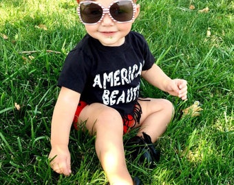 American beauty/girls/toddler/baby/memorial day/flag day/4th of july/whitee tee