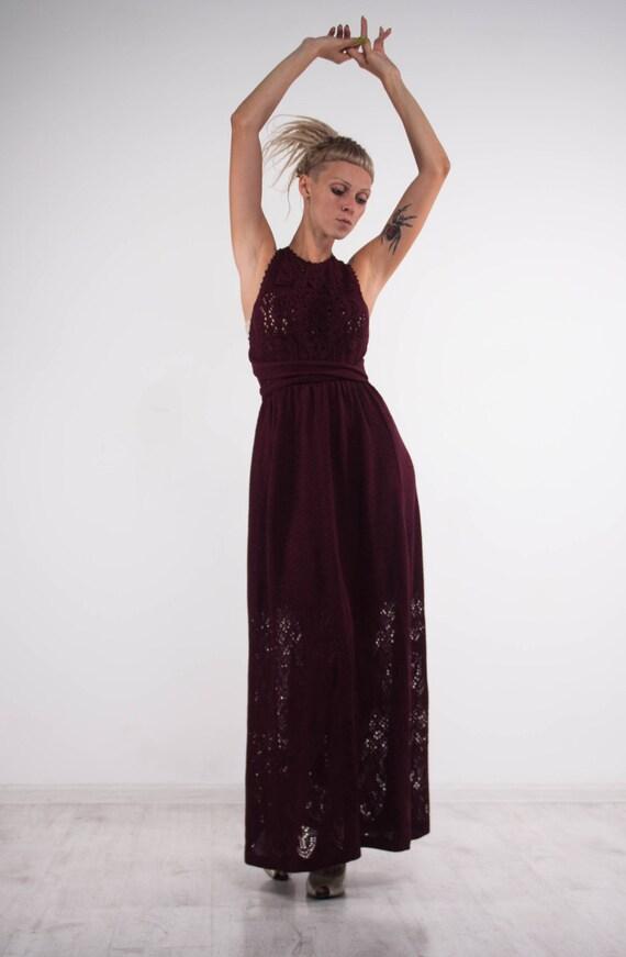 Häkeln Marsala Kleid Strick Maxi Kleid Openback Viskose Kleid