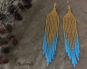 Blue and Gold Earrings Unique earrings Seed bead fringe earrings Beaded jewelry Long colorful earrings Boho long dangle earrings Beadwork