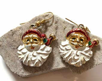 Santa Claus Pierced Earrings — Gold-Tone with Enamel
