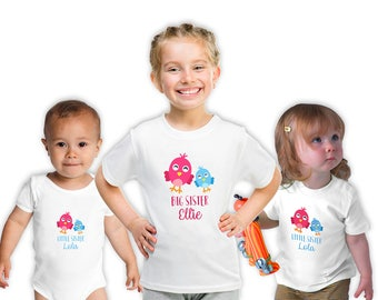 Personalised Big Sister, Little Sister T-Shirts, Matching Family, Sibling Birth Baby Shower Gifts , Birthday Gift, Sibling Shirts