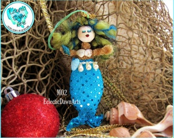 Mermaid Ornament with Crown and Shells, MO2