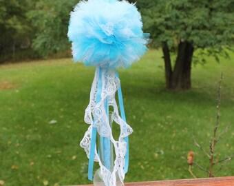 Blue Wand, Blue Pom Pom Wand, Magic Wand, Weddings, Princess Wand, Tulle Wand, Frozen Costume Accessory, Dress Up Wand