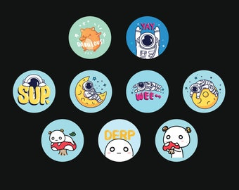 "Ivyc's OC Digitally Illustrated 1"" button Pack"