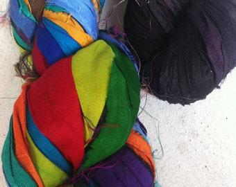 Sari Silk Ribbon, 200g, craft ribbon for jewellery making, scrapbooking, knitting, and fiber arts. Fair trade art yarn.