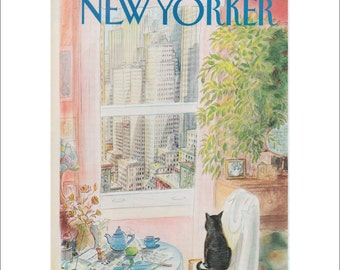 "The New Yorker Cover Magazine Poster Print, Cat Print, Item 004, Cat Art by Sempe,  Matted to 11"" x 14"""