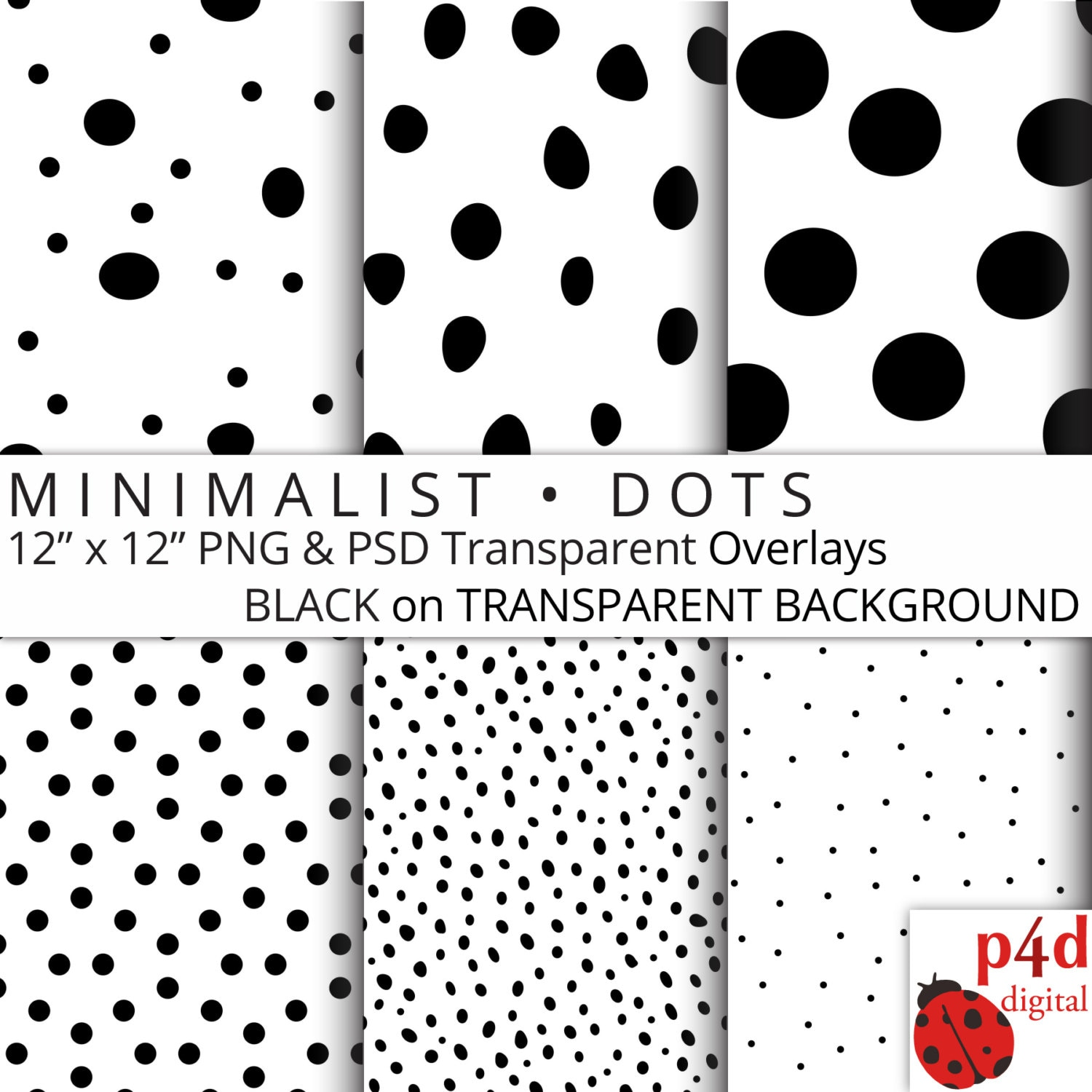 Minimalist Dots Black on Transparent Background Digital
