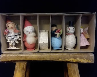 6 Christmas Ornaments 1950's More in our shop, 8.00 ea. House, Santa, Snow Man, Elf, Angel, decor, instant collection,  #79