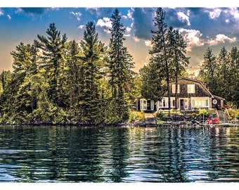 Cottage On The Lake - Art & collectible photo Giclee prints for home decor or gift suggestion for any occasion.