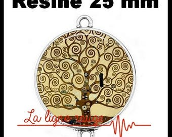 Connector silver 25 mm cabochon dome resin - tree of life of Gustav Klimt (1574) - art, painting, painter