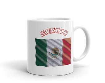 Mexico Waving Distressed Country Flag Mug Coffee Cup Double Sided Print 11oz, 15 oz