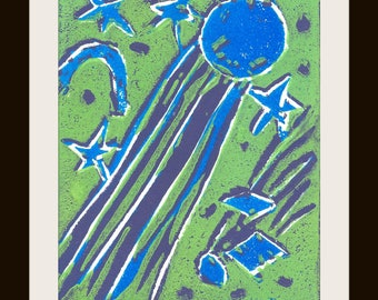 Whimsical Blue Comet Fine Art Print, Comets and Shooting Stars in Blue and Green by Special Needs Adult