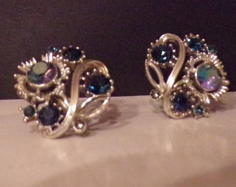 Sale- Was 18.00 Now 15.00 -INSER Earrings with Screw Back - Silver Tone with Blue Stones 1960's